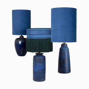 Large Table Lamps with Silk Lampshades, 1960s, Set of 3