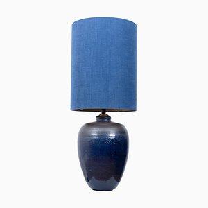 Große Tischlampe aus Keramik mit Lampenschirm aus Seide, 1960er