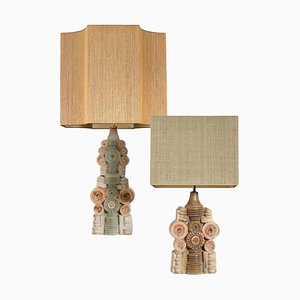 Keramik Tischlampen mit Seidenem Lampenschirm von Bernard Rooke, 1960er, 2er Set
