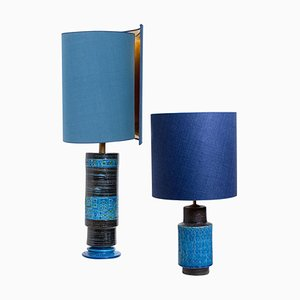Table Lamps with SIlk Lampshade by Bitossi, 1960s, Set of 2