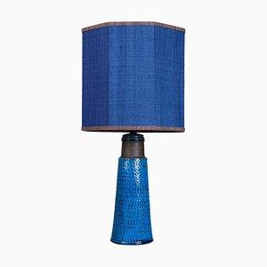 Tischlampe aus Keramik mit Lampenschirm aus Seide von Bitossi, 1960er