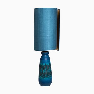 Large Ceramic Table Lamp with Silk Lampshade, 1960s