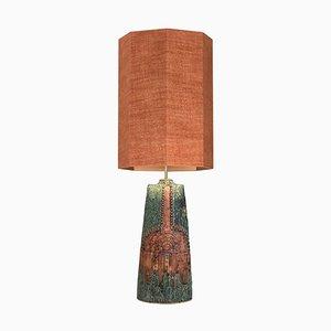 Tischlampe aus Keramik mit Lampenschirm aus Seide von Bernard Rooke, 1960er