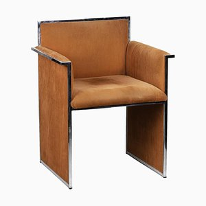 Armchair in Chromed Metal and Orange Suede, 1970s