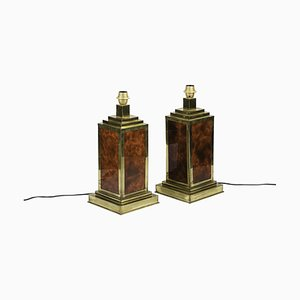 Table Lamps in Bakelite and Gilt Brass, 1970s, Set of 2