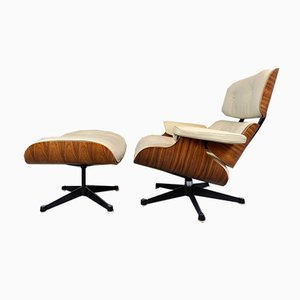 Lounge Chair & Ottoman by Charles & Ray Eames for Mobilier International, 1970s, Set of 2