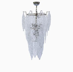Italian Murano Blown Lace Clear Glass Chandelier by Toni Zuccheri for Venini, 1960s