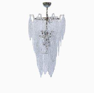 Italienischer Murano-Kronleuchter aus geblasener Murano-Spitze aus Klarglas von Toni Zuccheri für Venini, 1960er Jahre