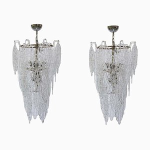 Italian Murano Blown Lace Clear Glass Chandeliers by Toni Zuccheri for Venini, 1960s, Set of 2