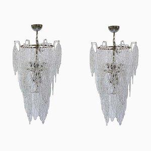 Lustres en Verre Murano Soufflé en Verre Transparent par Toni Zuccheri pour Venini, Italie, 1960s, Set de 2