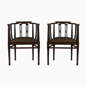 Beistellstühle mit geschwungener Rückenlehne und dunklem geschnitztem Holz, 1930er, 2er Set