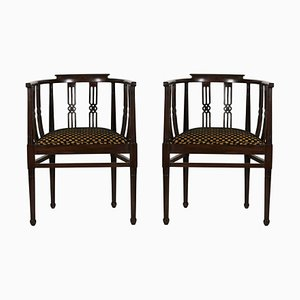 Side Chairs with Curved Back and Dark Carved Wood, 1930s, Set of 2
