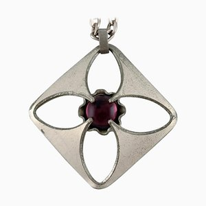 Necklace in Pewter with Purple Stone by Bent Larsen Tin, Denmark, 1960s