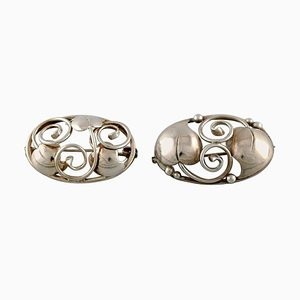 Danish Brooches in Silver, 1930s, Set of 2