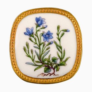 Flora Danica Porcelain & Sterling Silver Brooch by Michelsen for Royal Copenhagen