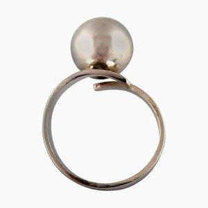 Moderner schwedischer Ring aus Sterlingsilber von Bengt Hallberg, 1970er