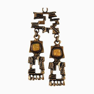 Bronze Necklace with Yellow Stones by Pentti Sarpaneva, Finland, 1960s