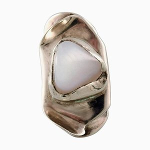 Swedish Modernist Sterling Silver Ring with Stone in Organic Form, 1960s