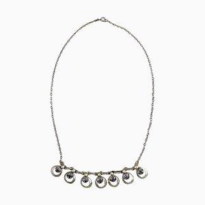 Dänische Sterling Silber Halskette mit Steinen in modernem Design