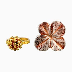 Flora Danica Jewelry Rings of Sterling Silver & Gold-Plated, Set of 2