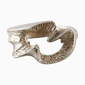 Modernistischer Schwedischer Ring aus Versilbertem Silber