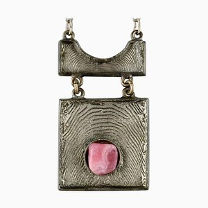 Danish Modern Necklace in Tin with Pink Stone, 1960s