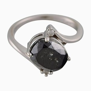 Large Cocktail Ring in 14k White Gold with Oval Facet Cut Black Diamond