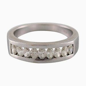 Diamond Ring of 14 Karat White Gold with 9 Oval Diamonds