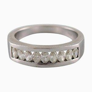 Diamond Ring of 14 Karat White Gold with 9 Oval Diamonds