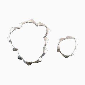 Dänische Silberschmied Halskette und Armband aus Silber, 2er Set