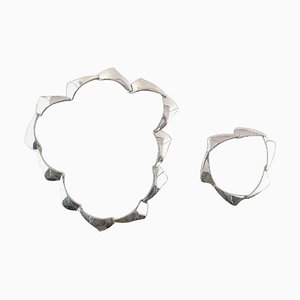 Danish Silversmith Sterling Silver Necklace and Bracelet, Set of 2