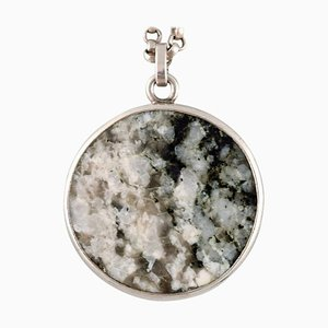 Swedish Modernist Necklace in Sterling Silver with Stone Pendant