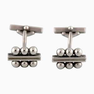 Art Deco Cufflinks in Sterling Silver from Georg Jensen, Set of 2