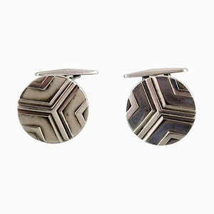 Art Deco Cufflinks in Sterling Silver from Georg Jensen, 1930s, Set of 2
