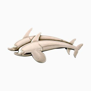 Design Number 311 Sterling Silver Two Dolphins Brooch from Georg Jensen, 1940s