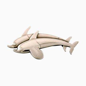 Spilla modello nr. 311 in argento sterling con due delfini di Georg Jensen, anni '40