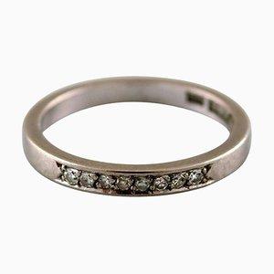 Schwedischer Modernistischer Ring aus 18 Karat Weißgold mit Diamanten, 1988