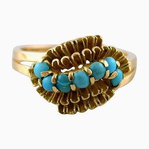 Art Deco Swedish 18 Karat Gold Topaz Ring, 1930s