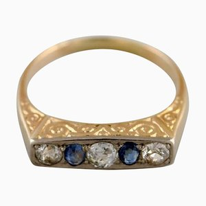 Scandinavian 14 Karat Art Deco Gold Ring with Brilliants and Sapphires