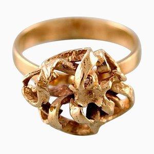 Organischer dänischer Ring aus 14 Karat Gold von Hermann Siersbøl, 1960er