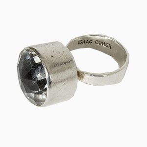Silver and Rock Crystal Ring by Isaac Cohen, 1967