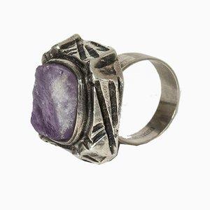 Silber und Amethyst Ring von Pentti Sarpaneva für Turun Hopea, 1970er
