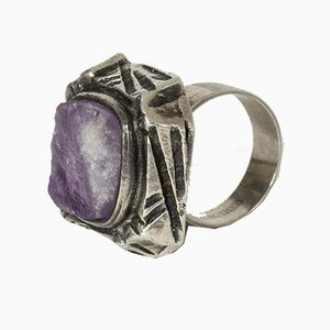 Silver and Amethyst Ring by Pentti Sarpaneva for Turun Hopea, 1970s