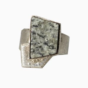 Silver and Granite Ring by Björn Weckström for Lapponia, 1986