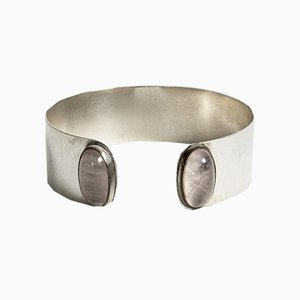 Silver and Rose Quartz Bracelet by Olavi Henrik Risku for Hovisepät Oy, 1959