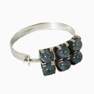 Silver and Moss Agate Bracelet by Elis Kauppi for Kupittaan Kulta, 1960s