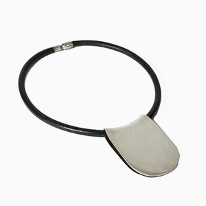 Leather and Silver Choker from Hans Hansen, 1980s