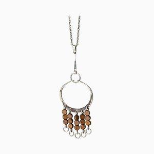 Silber und Holz Halsketten-Anhänger von Anna Greta Eker für Plus 1960