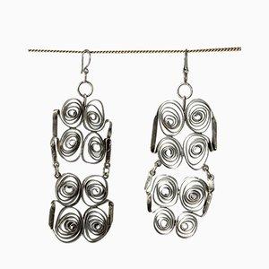 Silver Ribbon Ohrringe von Liisa Vitali, 1968, 2er Set