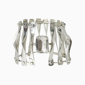 Silver and Rock Crystal Bracelet from Borggren-Franck, 1970s